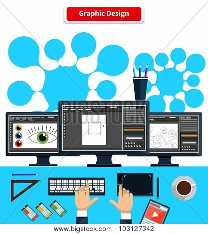 Workspace Graphic Design Monitor Tablet Keyboard