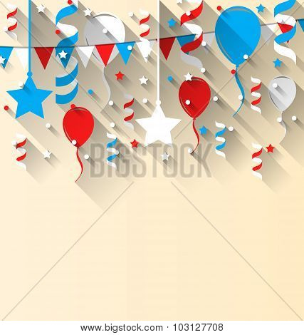 American patriotic background with balloons, streamer, stars and