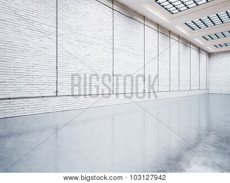 Mock up of gallery with white bricks. 3d render