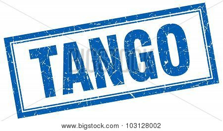 Tango Blue Square Grunge Stamp On White