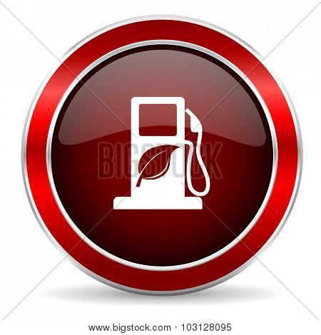 biofuel red circle glossy web icon, round button with metallic border
