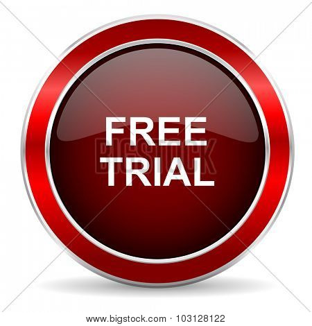 free trial red circle glossy web icon, round button with metallic border