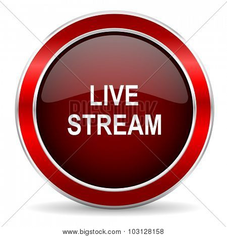 live stream red circle glossy web icon, round button with metallic border