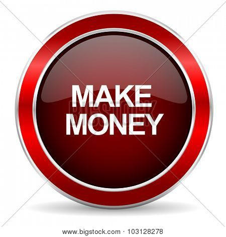 make money red circle glossy web icon, round button with metallic border