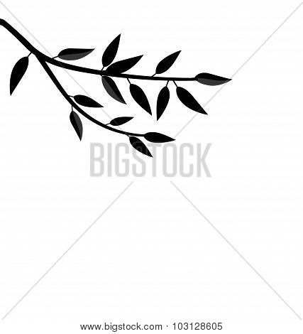 Black Silhouette Branch Tree with Leafs