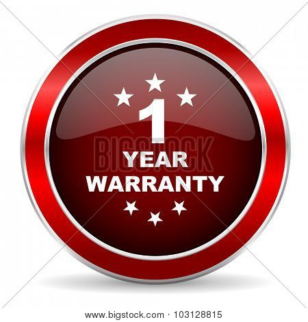 warranty guarantee 1 year red circle glossy web icon, round button with metallic border