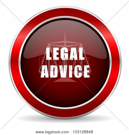 legal advice red circle glossy web icon, round button with metallic border