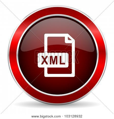 xml file red circle glossy web icon, round button with metallic border