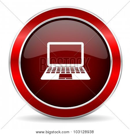 computer red circle glossy web icon, round button with metallic border