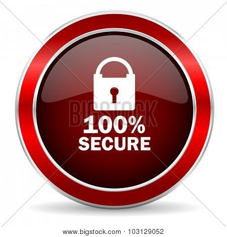 secure red circle glossy web icon, round button with metallic border