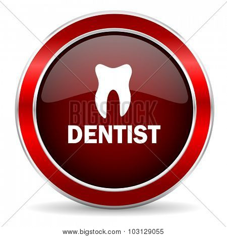 dentist red circle glossy web icon, round button with metallic border