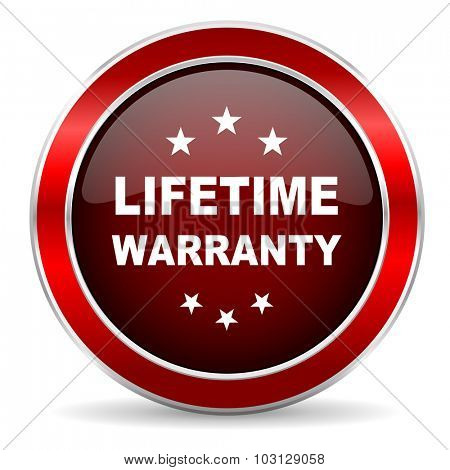 lifetime warranty red circle glossy web icon, round button with metallic border