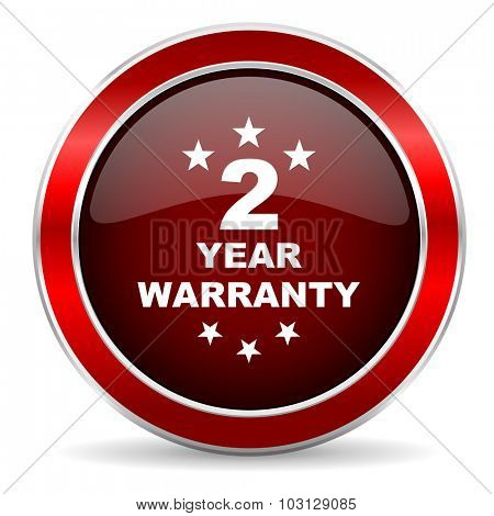 warranty guarantee 2 year red circle glossy web icon, round button with metallic border