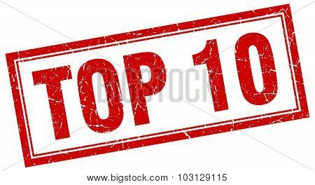 Top 10 Red Square Grunge Stamp On White