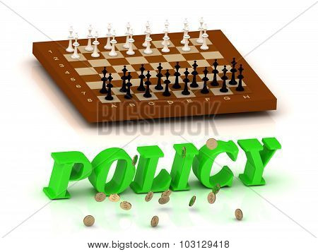 Policy - Inscription Of Green Letters And Chess