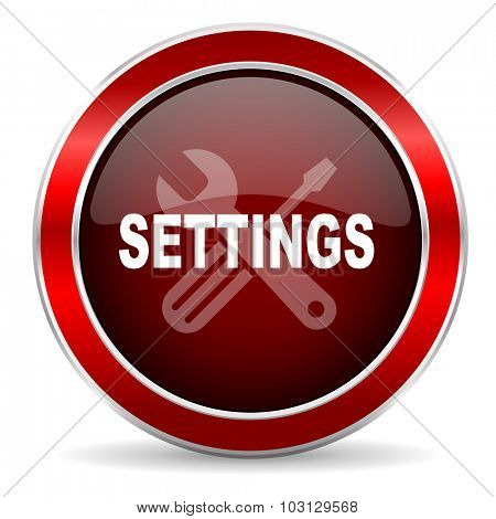 settings red circle glossy web icon, round button with metallic border