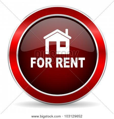 for rent red circle glossy web icon, round button with metallic border