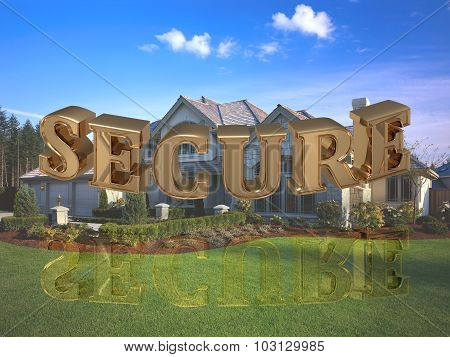 Secure - Inscription Of Bright Gold Letters On Garden