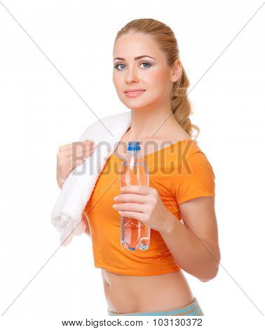 Young woman with bottle and towel isolated