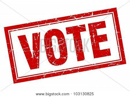 Vote Red Square Grunge Stamp On White