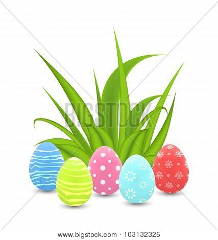 Traditional colorful ornamental eggs with grass for  Easter