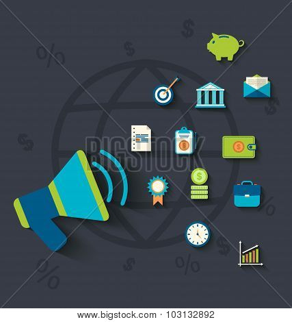 Flat icons concepts on business and finance theme