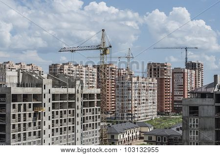 A Group Of New Buildings Of Different Storeys