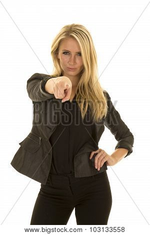 Blond Woman In Black Business Attire Point Serious