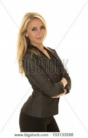 Blond Woman In Black Business Attire Side Smile