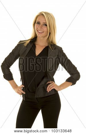 Blond Woman In Black Business Attire Stand Smile