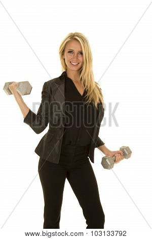 Blond Woman In Black Business Attire Weights Curl