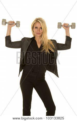 Blond Woman In Black Business Attire Weights Flex