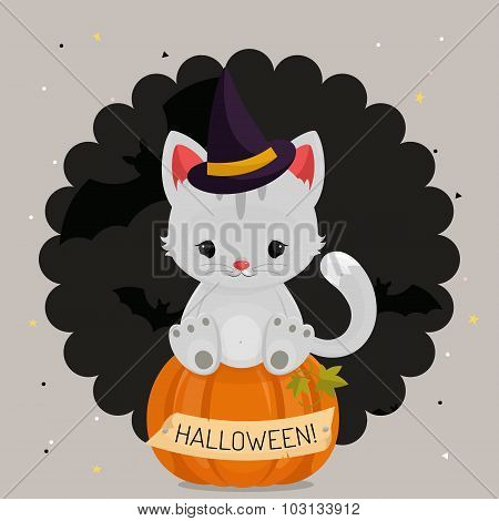 Halloween card or background with white cat.