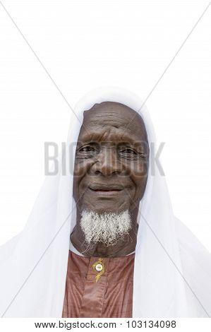 Eighty-year-old African man ready to celebrate, isolated