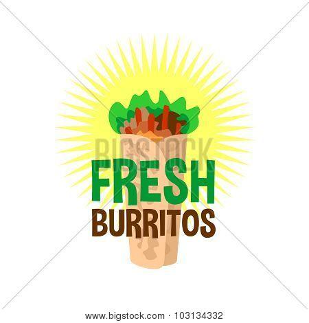 Fresh Burrito Logo. Snack Bar Signboard.
