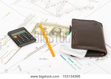 Purse with calculator