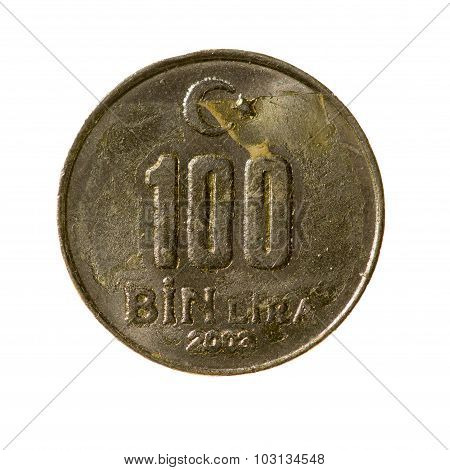 Coin Hundred Thousand Liras Turkey Isolated On A White Background. Top View.
