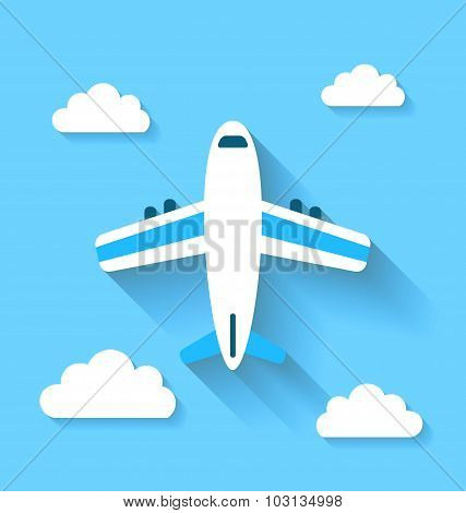 Simple icons of plane and clouds with long shadows, modern flat