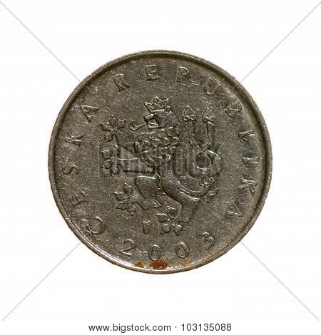 Czech Koruna Coin One Isolated On White Background. Top View.