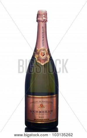 MIAMI, USA - March 24, 2015: A bottle of Louis Bouillot, Cremant de Bourgogne Rose - Perle d'Aurore.