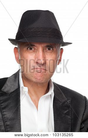 Angry man wearing a hat