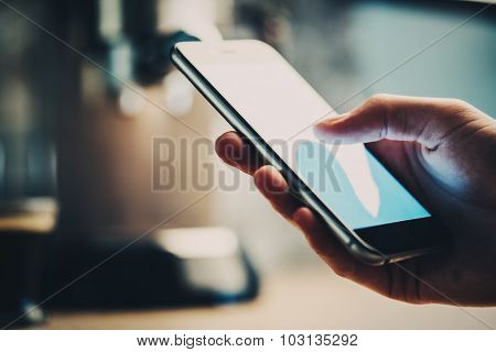 Closeup of girl texting some message and sending photo