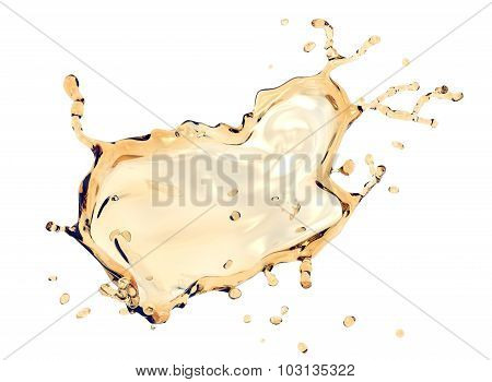 Splash Of Oil Isolated On White With Clipping Path