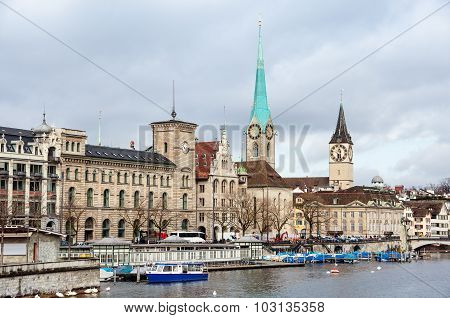 St. Peter Church And Old Clock Tower In Zurich, Switzerland