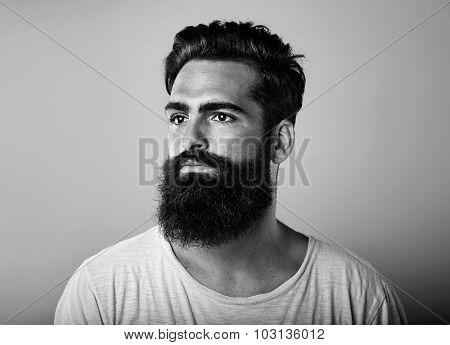 BW portrait of long beard and mustache man