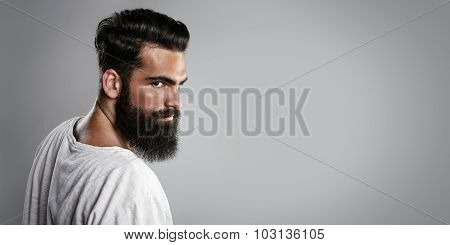 Mockup of long beard and mustache man
