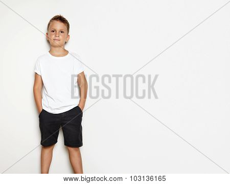 Mock up of young man wearing black shorts and tshirt