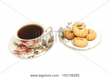 Cup Of Tea And Delicious Cookies