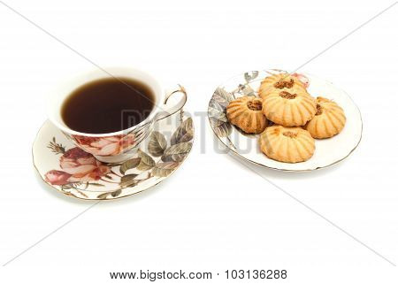 Plate With Cookies And Cup Of Tea