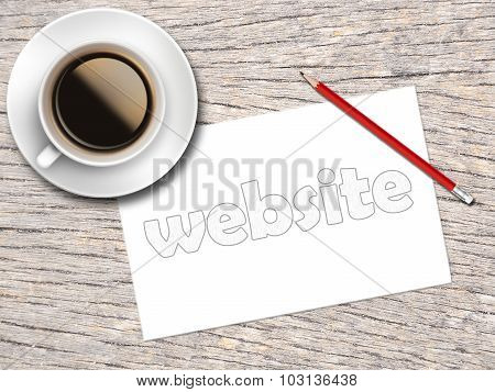 Coffee And Sketch Paper Written Website On The Wooden Table